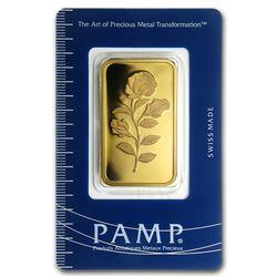 Genuine 1 oz 0.9999 Fine Gold Bar - PAMP Suisse Rosa