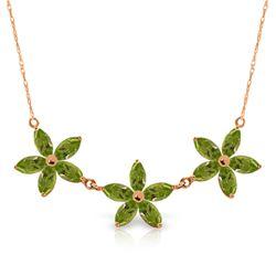 Genuine 4.2 ctw Peridot Necklace Jewelry 14KT Rose Gold - REF-60F7Z