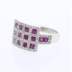 Checkered Ruby & Round Diamond Cocktail Ring in 14K White Gold - REF-102F3M