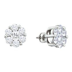 0.5 CTW Natural Diamond Flower Cluster Stud Earrings 14K White Gold