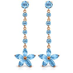 Genuine 4.8 ctw Blue Topaz Earrings Jewelry 14KT Rose Gold - REF-56Z8N