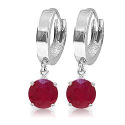 Genuine 2.5 ctw Ruby Earrings Jewelry 14KT White Gold - REF-33Z6N