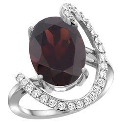 Natural 6.91 ctw Garnet & Diamond Engagement Ring 14K White Gold - REF-100H3W