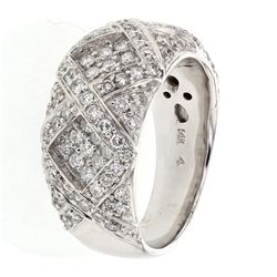 Round-cut Criss-cross style Wide Diamond Ring in 14K White Gold - REF-173H2W