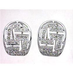 14K White Gold 0.83CTW Diamond Earring - REF-83M2F