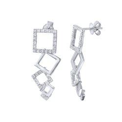 14K White Gold 0.8CTW Diamond Earring - REF-104K6R