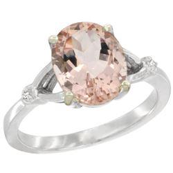 Natural 2.91 ctw Morganite & Diamond Engagement Ring 14K White Gold - REF-58Z2Y