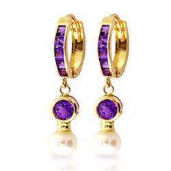 Genuine 4.15 ctw Amethyst & Pearl Earrings Jewelry 14KT Yellow Gold - REF-48Z3N