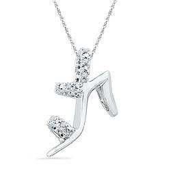 0.05 CTW Natural Diamond Stiletto Shoe Pendant 10K White Gold