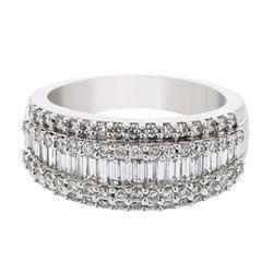 18K WhiteGold 1.25CTW Baguette Fashion Ring - REF-229N5A