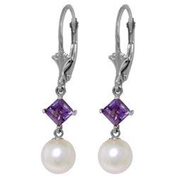 Genuine 5 ctw Pearl & Amethyst Earrings Jewelry 14KT White Gold - REF-29M7T