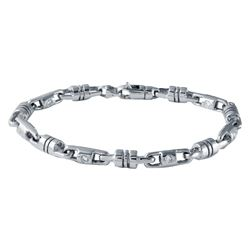 Genuine 1.08 TCW 14K White Gold Gents Bracelet - REF-383W4H