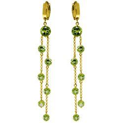 Genuine 9.02 ctw Peridot Earrings Jewelry 14KT Yellow Gold - REF-101Y2F