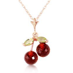 Genuine 1.45 ctw Garnet & Peridot Necklace Jewelry 14KT Rose Gold - REF-17F3Z