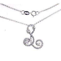 14K White Gold 0.72CTW Diamond Necklace - REF-64H9W