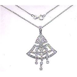 18K White Gold 0.65CTW Diamond Necklace - REF-114R5K