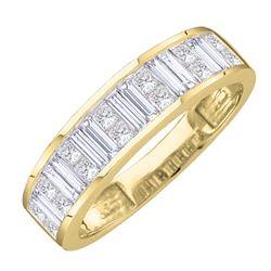 1 CTW Baguette & Princess Natural Diamond Anniversary Band 14K Yellow Gold
