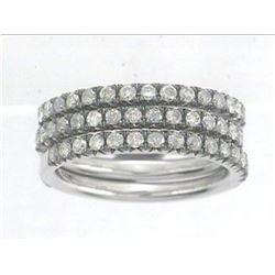 14K White Gold 0.91CTW Diamond Band Ring - REF-72A3N