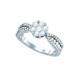 1 CTW Natural Diamond Cluster Bridal Engagement Ring 14K White Gold