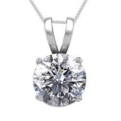 14K White Gold Jewelry 0.52 ct Natural Diamond Solitaire Necklace - REF#115X5F-WJ13281