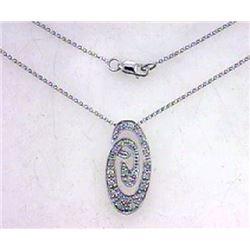 14K White Gold 0.34CTW Diamond Necklace - REF-53Y3X
