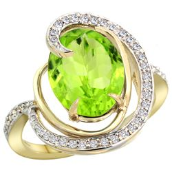 Natural 5.16 ctw peridot & Diamond Engagement Ring 14K Yellow Gold - REF-78Y5X