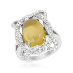 14KWhite Gold 6.02 CTW Quartz & Diamond Ring - REF-104Y8X