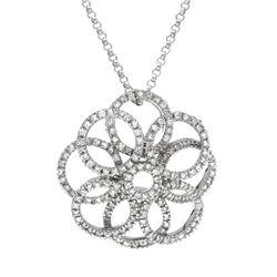Genuine 0.98 TCW 14K White Gold Ladies Necklace - REF-169K3R