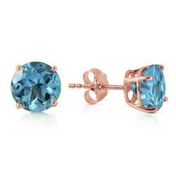 Genuine 3.1 ctw Blue Topaz Earrings Jewelry 14KT Rose Gold - REF-23W9Y