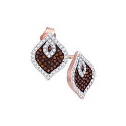 0.4 CTW Red Colored Diamond Stud Cluster Spade Earrings 10K Rose Gold