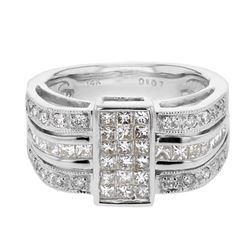 Invisible Princess Setting fashion Ring with Milgrain in 14K White Gold - REF-240N9A