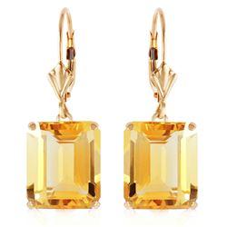 Genuine 13 ctw Citrine Earrings Jewelry 14KT Yellow Gold - REF-54X2M