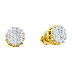 1 CTW Natural Diamond Cluster Earrings 14K Yellow Gold