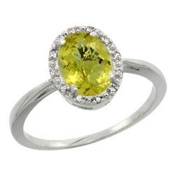 Natural 1.22 ctw Lemon-quartz & Diamond Engagement Ring 14K White Gold - REF-26V8F