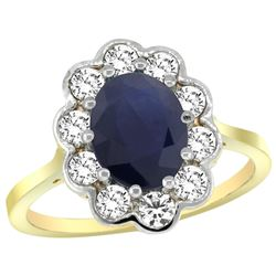 Natural 2.73 ctw Blue-sapphire & Diamond Engagement Ring 14K Yellow Gold - REF-95H2W