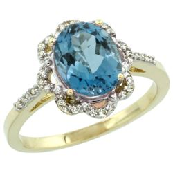 Natural 1.85 ctw London-blue-topaz & Diamond Engagement Ring 10K Yellow Gold - REF-29H7W