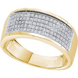 0.3 CTW Mens Natural Diamond Micropave Anniversary Band 10K Yellow Gold