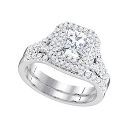 1.63 CTW Natural Princess Diamond Solitaire Halo Bridal Engagement Ring 18K White Gold