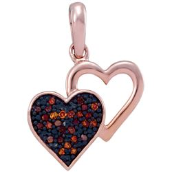 0.08 CTW Red Colored Diamond Heart Love Pendant 10K Rose Gold
