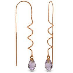 Genuine 3.3 ctw Amethyst Earrings Jewelry 14KT Rose Gold - REF-18K3V