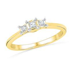 0.08 CTW Natural Diamond 3-stone Bridal Engagement Ring 10K Yellow Gold