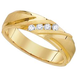 0.25 CTW Mens Natural Channel-set Diamond Anniversary Band 10K Yellow Gold