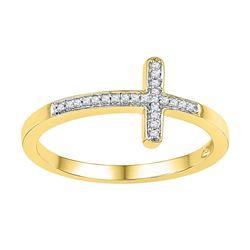 0.06 CTW Natural Diamond Cross Faith Band 10K Yellow Gold