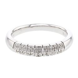 0.08 CTW 14K White Gold Gents Band Ring - REF-43R5K