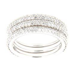 14K White Gold 0.53CTW Diamond Band Ring - REF-70H7W
