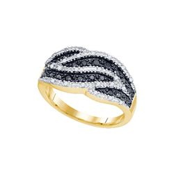 0.5 CTW Black Colored Diamond Cocktail Band 10K Yellow Gold