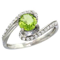 Natural 0.99 ctw peridot & Diamond Engagement Ring 14K White Gold - REF-52M2H