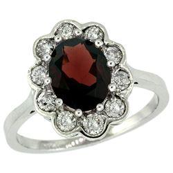 Natural 2.34 ctw Garnet & Diamond Engagement Ring 14K White Gold - REF-82V2F
