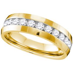 1 CTW Mens Natural Diamond Anniversary Band 10K Yellow Gold