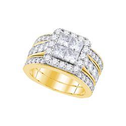 3 CTW Natural Princess Diamond Bridal Engagement Ring 14K Yellow Gold